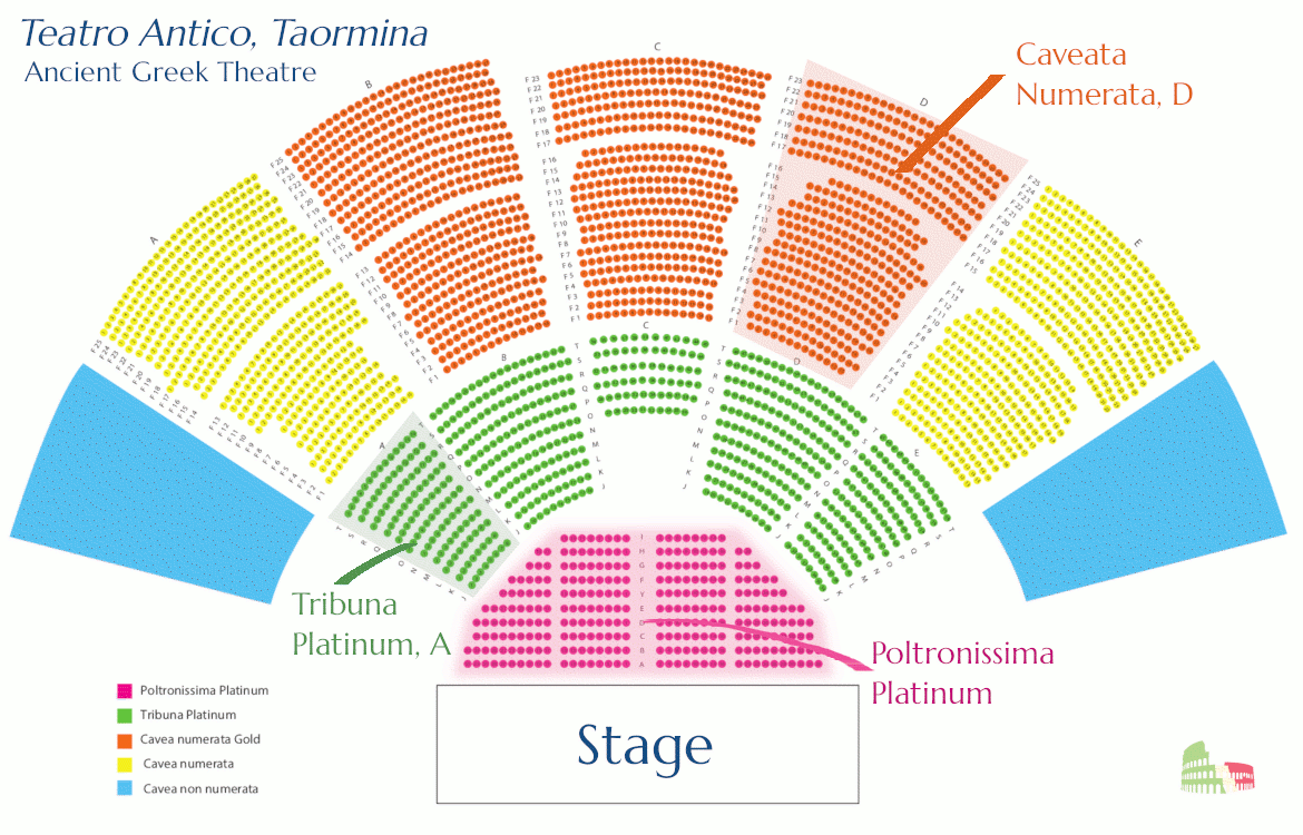 Seating plan, Teatro Antico di Taormina