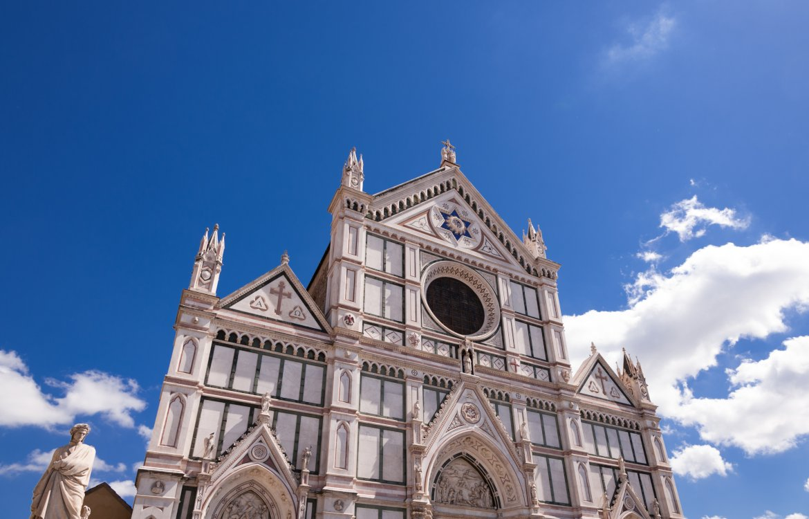 An image of the exterior of Santa Croce. Florence