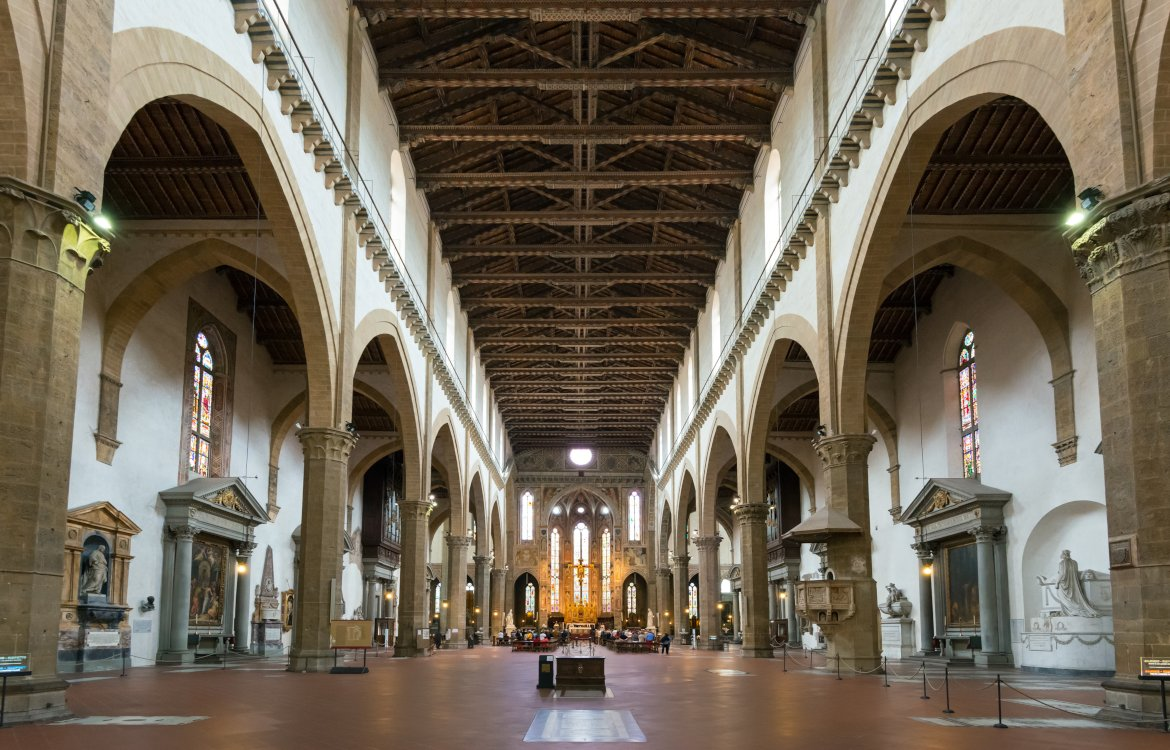 An image of the interior of Santa Croce. Florence