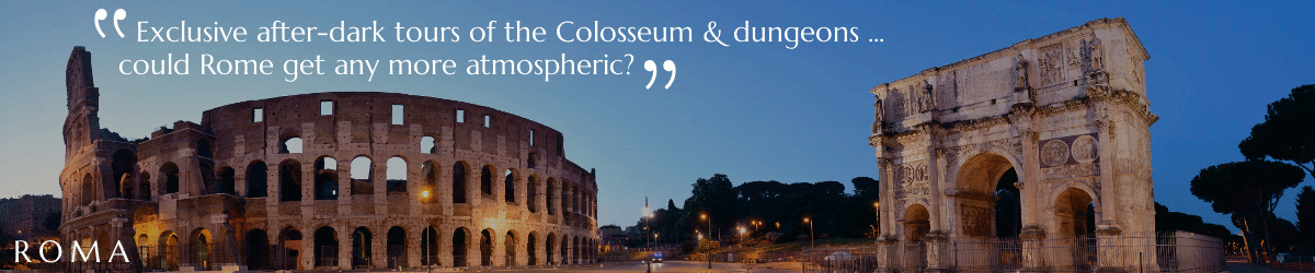 Image of Colosseum, Rome, after dark.
