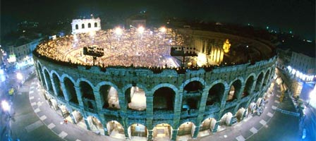 An image of the opera festival at the Verona Arena.