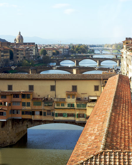 The Pontevecchio and the Vasari Corridor seen from the Uffizi Gallery