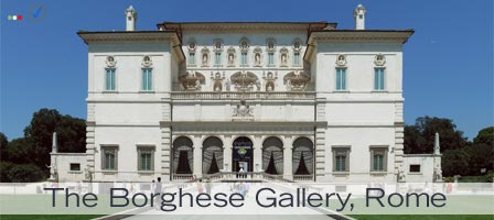 The facade of the Borghese Gallery, Rome, Italy