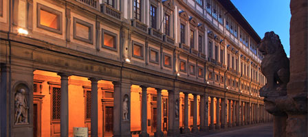 The exterior of the Uffizi Gallery, Florence