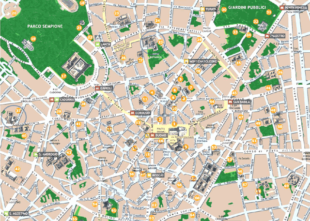 A tourist map of Milan, Italy