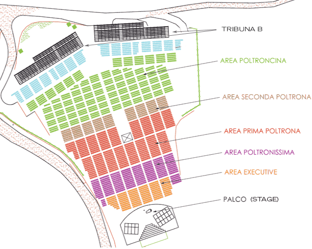 Map of seating for Andrea Bocelli concert in Tuscany