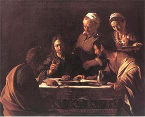 An image of Supper at Emmaus by Caravaggio, Milan Brera