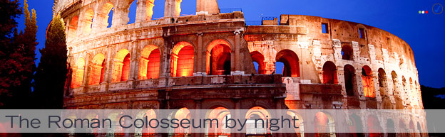 Rome, Italy - an image of the Colosseum, Rome, by night